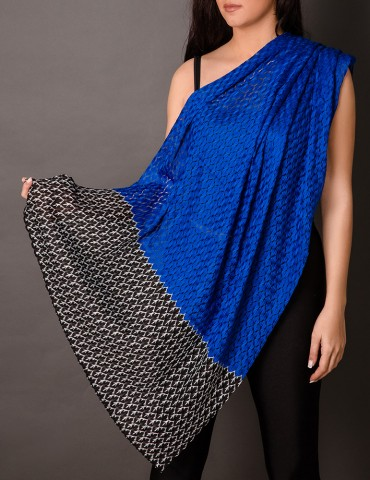 Royal blue lace shawl