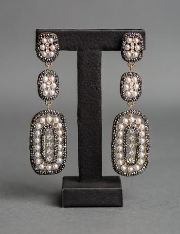Long drop black earrings...