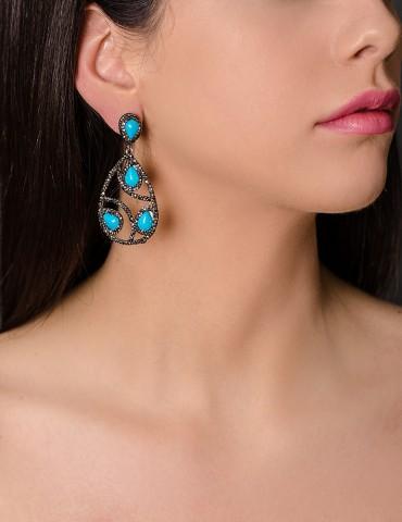 Οval drop black earrings...