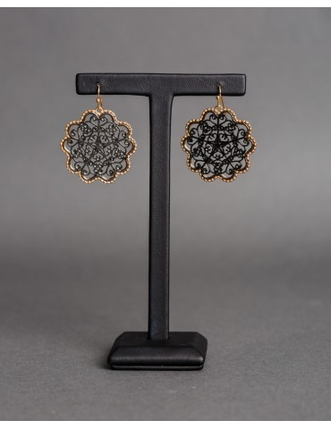 Gold and black drop earrings