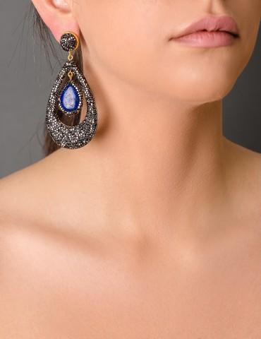 Οval drop earrings with blue stone