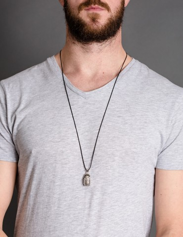 Grey string necklace with...