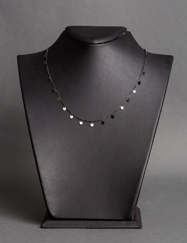 Βlack silver necklace Ιvonne