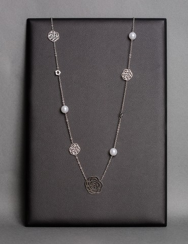 Silver long chain necklace...