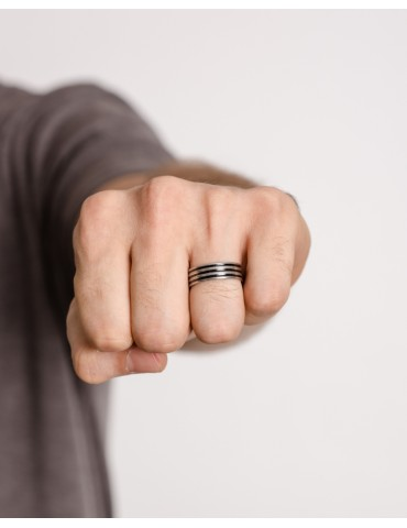 Βruno black-silver ring